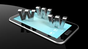 Tablet or smartphone with 3d letters WWW Royalty Free Stock Photos