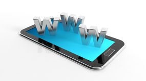 Tablet or smartphone with 3d letters WWW Stock Image