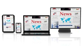 Tablet, smartphone, laptop and monitor with News website on screen Royalty Free Stock Photo