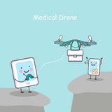 Tablet and smartphone , medicel drone. Cute cartoon tablet pc and smart phone with medicel drone, great for your design Royalty Free Stock Images