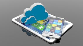 Tablet and smartphone with square apps and cloud icons Stock Images