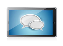 Tablet with speech bubbles illustration design Royalty Free Stock Photos