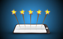 Tablet star rating system Stock Photography