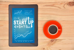 Tablet  with start up scheme Stock Images