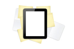 Tablet on Sticky Posts and Note Books Royalty Free Stock Photos