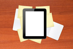 Tablet on Sticky Posts and Note Books Stock Photography