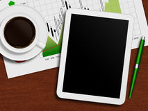 Tablet with stock chart, cup of coffee and pen lying on desk. Tablet with stock chart, cup of coffee and pen lying on wooden desk Stock Photo