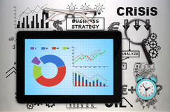 Tablet with stock chart Stock Photography