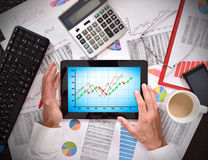 Tablet with stock chart Stock Photo