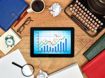 Tablet with stock chart Stock Photos