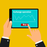 Tablet with stock exchange graphic Stock Images