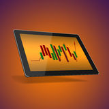 Tablet with the stock market Royalty Free Stock Image