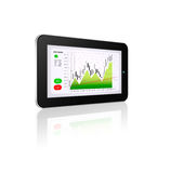 Tablet with stock market chart isolated over white Royalty Free Stock Images