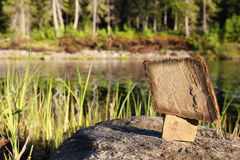 The tablet of stone. The stones stand on each other in an outdoor Stock Photos