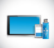 Tablet and storage objects illustration Royalty Free Stock Photography