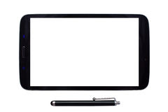 Tablet and stylus with blank screen. Tablet with a stylus with a blank screen on an isolated white background Stock Image