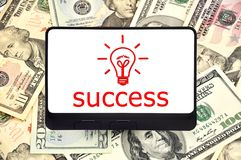 Tablet with success symbol Stock Photo