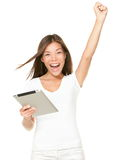 Tablet success - Winning on digital pc touchpad royalty free stock photos