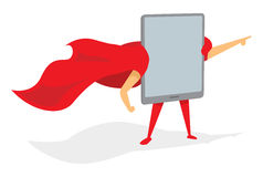 Tablet super hero standing with cape Stock Photo