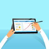 Tablet surface finance chart hand draw with stylus Royalty Free Stock Images