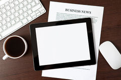 Tablet on the table of a businessman Royalty Free Stock Photos