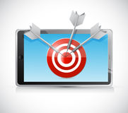 Tablet and target illustration design Stock Photo