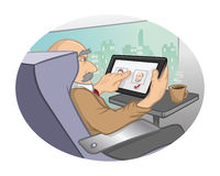 Tablet technology train Stock Images
