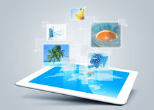 Tablet tecnology background Stock Photography