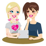 Tablet Teenage Girls Friends Royalty Free Stock Images