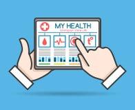 Tablet telehealth concept. Remote medical doctor monitoring, health or mobile medic help vector illustration royalty free illustration