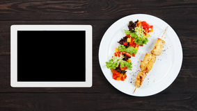 Tablet template for menu, recipe or cooking app Stock Photography
