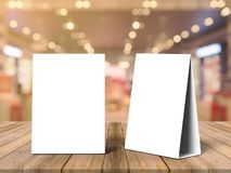 Tablet Tent Talkers Promotional Menu cards white blank Empty for mock up design and templates 3d rendering. Tablet Tent Talkers Promotional Menu cards white royalty free stock photo