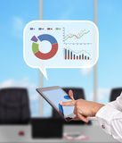 Tablet and  think box with stock chart Stock Photos