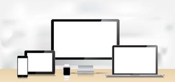 Tablet-Tischrechner Vektor-Laptop-Smartphones Smartwatch Lizenzfreie Stockfotografie