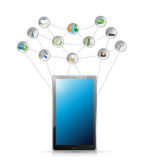 Tablet and tools network illustration design Stock Images