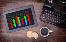 Tablet touch computer gadget on wooden table, graph Stock Photo