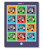 Tablet touch gestures Royalty Free Stock Photo
