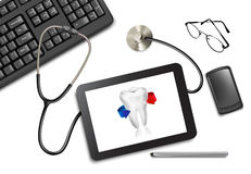 Tablet touch pad and office supplies on the table. At the doctor. Vector illustration Stock Photography
