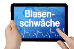Tablet with touchscreen and diagnosis bladder weakness royalty free stock photography