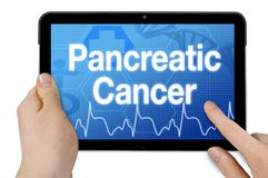 Tablet with touchscreen and diagnosis pancreatic cancer royalty free stock images