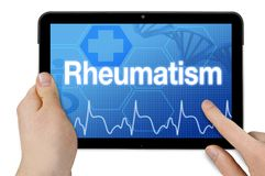 Tablet with touchscreen and diagnosis rheumatism stock image