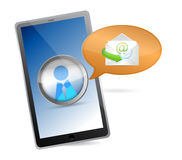 Tablet with touchscreen - message concept. Illustration design over white Stock Photography