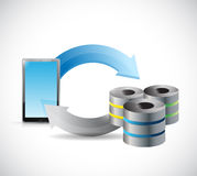 Tablet transferring to servers concept Royalty Free Stock Photo