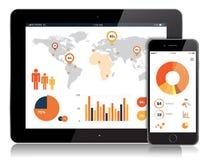 Tablet und bewegliches Vektor-Design Lizenzfreie Stockfotografie