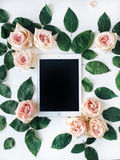 Tablet und Rosarose blühen mit grünen Blättern auf weißem Hintergrund Lizenzfreie Stockfotos