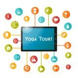 Tablet und Satz flache Ikonen für Yogaplakat, Yogastandort Vektoryogaikonen Lizenzfreie Stockfotos