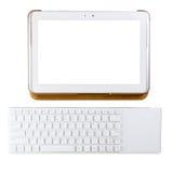 Tablet und Tastatur auf wthite Hintergrund Stockbilder
