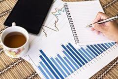 Tablet und Teeschale mit Finanzdokumenten Stockfotos