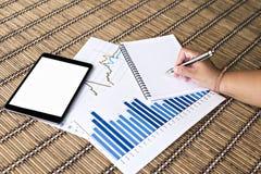 Tablet und weiße Anmerkung mit Finanzdokumenten Lizenzfreie Stockfotografie