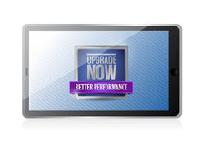 Tablet with an upgrade now illustration Royalty Free Stock Photo